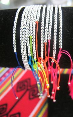 Silver NEON Beaded Bracelet / Friendship Band Made To Order                                                                                                                                                      Más