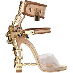 DSQUARED 110mm Jewelled Leather & Elaphe Sandals - Nude (€2.560) ❤ liked on Polyvore featuring shoes, sandals, heels, nude, leather platform sandals, platform sandals, high heel shoes, toe-strap sandals and platform heel sandals