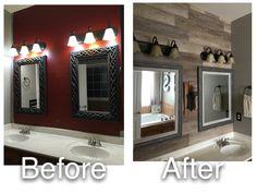 Installed vinyl plank flooring on my bathroom wall - love the texture & color.