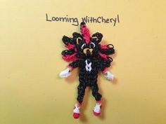 Rainbow Loom SHADOW (Sonic). Designed and loomed by Cheryl Spinelli at Looming WithCheryl. Click photo for YouTube tutorial. 05/21/14.