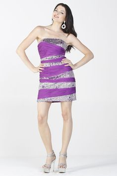 Sexy Purple Sequin Mini Dress Strapless (Size XS to XL-2 Colors)