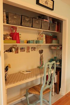 **this is the layout for our cloffice! We will use the dowel from in here & put it in our master bedroom closet as a row for hanging shorter items yay! Craft Room Closet, Closet Desk, Home Office Closet, Guest Room Office, Closet Storage, Boys Closet, Hall Closet, Smart Storage, Sewing Closet