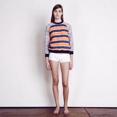 ace&jig Bonfire/Dutch Blue Quilted Sweatshirt