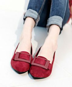 """Essential Red Point Toe Flat Shoes. More """"too cute, gotta have"""" shoes. Durn it. Looks like I have to buy more shoes. Durn."""