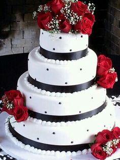 Trendy wedding cakes black and white honeymoons ideas Wedding Cake Red, 50s Wedding, Trendy Wedding, Wedding Events, Dream Wedding, Wedding Stuff, Wedding Ideas, Red And White Weddings, Blush Wedding Flowers