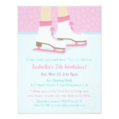 Ice Skating Rink Girls Birthday Party Invitations