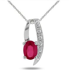 1.00 Carat Ruby and Diamond Pendant in .925 Sterling Silver $37.00 @ Szul
