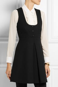 Saint Laurent|Wool-crepe mini dress|NET-A-PORTER.COM