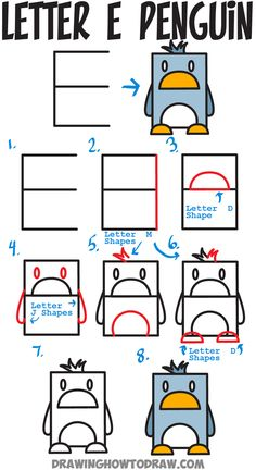 how to draw a cartoon penguin from uppercase letter e easy steps tutorial for kids - Cartoon Kids Drawing