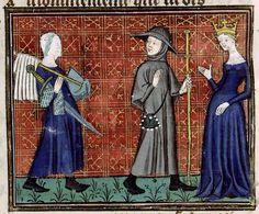 Illustration: Grâce de Dieu présentant Mémoire au Pèlerin , Ms.1130, f°32v, Dossier Iconographique (thesesparissorbonne)