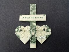 CROSS & HEARTS Money Origami  Dollar Bill by