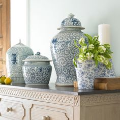 dining room inspiration.  Blue-green walls, chinese porcelain pots