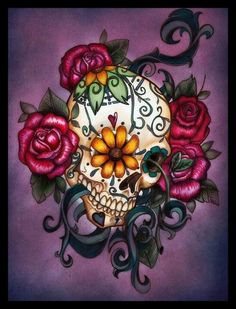 Sugar skull-I love the way it's tilted, and the flower in the eye. I am not crazy about the stem coming out of the other eye, however