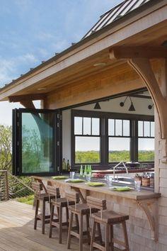 Craftsman Patio with Vivo 16-piece Green Square Dinner Set, Outdoor kitchen, Montego Bay Bar Stool