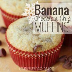 Banana Chocolate Chip Muffins | Banana Recipe | Breakfast Muffins