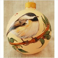 Chikadee - Christmas Ornaments, Hand painted Glass Ball Ornaments w. Birds on eBid United States