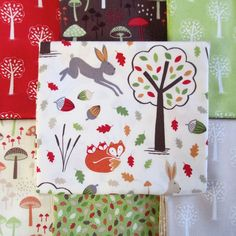Fox & Friends (Lewis & Irene) : all about autumn with soft, warm colours and charming Scandi-style prints. Along with trees, leaves and toadstools, there are English woodland animals here – a vixen and her kits, hares and badgers – all with Lewis & Irene's signature charm.