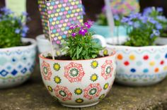 Bowl & Mug Flower Teacher Gifts by KnittyO | Home & Garden Ideas