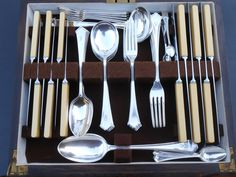 INITIAL+'S'+54pc+ELKINGTON+CHIPPENDALE+CANTEEN+-+SILVER+PLATED+-+VINTAGE+1926+(#48494)