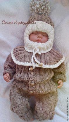 Комбинезон Волны аранов - бежевый,абстрактный,для новорожденного,для новорожденных