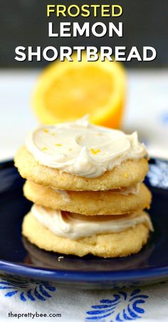 These frosted lemon shortbread cookies are the perfect light and delicious springtime dessert! Crisp cookies and creamy icing are the perfect combination. Best Gluten Free Desserts, Gluten Free Cookies, Dairy Free Recipes, Vegan Desserts, Bar Recipes, Fruit Recipes, Diabetic Recipes, Cookie Recipes, Dessert Recipes