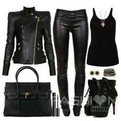 Leather jacket leather pants heels