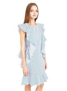 Ruffles Midi Dress Straight Dress Female Dresses – Lilacoo