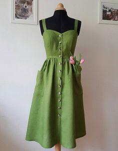 PEARL Moss green linen dress sleeveless dress linen dress midi dress vintage inspired dress button down dress carrier Pretty Outfits, Pretty Dresses, Cool Outfits, Casual Outfits, Elegant Dresses, Sexy Dresses, Beautiful Casual Dresses, Corset Dresses, 1950s Dresses