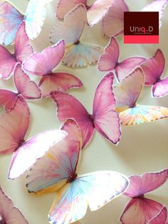 45 precut RAINBOW butterflies decoration  FREE by uniqdots on Etsy, $36.00
