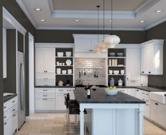Sherwin Williams Urbane Brone in a dark kitchen with travertine floor, white cabinets. Kylie M Interiors E-design info Kitchen Wall Colors, Kitchen Paint, Kitchen Redo, New Kitchen, Kitchen Remodel, Kitchen Design, Kitchen Ideas, Dark Paint Colors, Travertine Floors