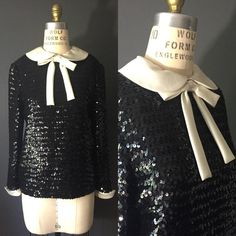 1980s 60s style black sequin peterpan collar by SilkFortVintage