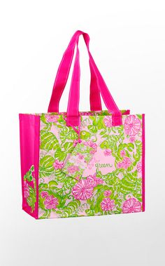 "Find a fashionable, reusable tote bag like this Lilly Pulitzer Market Bag ""Lilly Loves Green and You Can Too"". For some of the cutest eco- friendly bags, follow our board ""Eco-Friendly Fashion."""