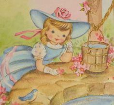 "Vintage 1940's greeting card, sweet girl wishing well bluebird, 8"" used"