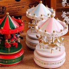 Vintage Blue Wooden Merry-Go-Round Carousel Music Box Kids Children Girls Christmas Birthday Gift Toy
