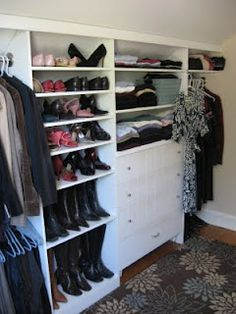 diy closet wall in my dressing room - good use of awkward space under sloped ceiling