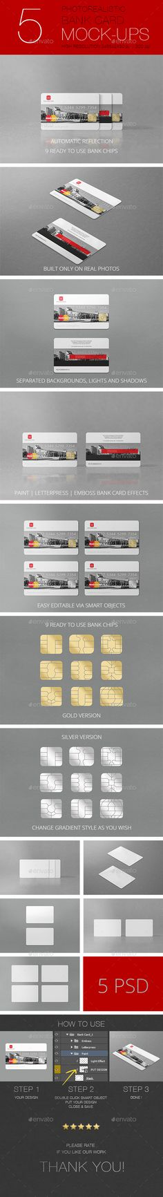 Buy Photorealistic Bank Card Mockup by Clevery on GraphicRiver. Photorealistic Bank Card Mockup is built only on professional photos. You can control light effect on all psd files b. Credit Card Design, Mockup Photoshop, Bank Card, Plate Design, Business Card Logo, Cardio, Behance, Free, Graphic Design
