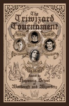 I always wanted to see a poster for the Triwizard Tournament. I always thought that would be a huge event for the witch and wizarding folk in the land o. Triwizard Tournament from Goblet of Fire Poster Harry Potter Tumblr, Harry Potter Fan Art, Harry Potter Collage, Posters Harry Potter, Harry Potter Newspaper, Harry Potter Journal, Harry Potter Printables, Harry Potter Background, Mundo Harry Potter