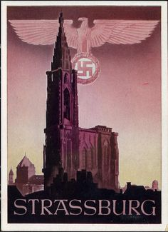 "Colour postcard of ""Strassburg"", with Nazi insignia above a Cathedral"