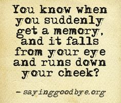 When you suddenly get a memory and it falls from your eye and runs down your cheek....