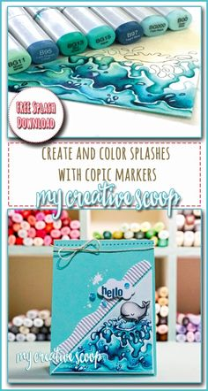 Create and Color Splashes + FREE Splash Printable! art with markers Easy tips on coloring water using Copic Markers - My Creative Scoop Marker Kunst, Copic Marker Art, Copic Pens, Copic Sketch Markers, Copic Art, Copics, Prismacolor, Copic Markers Tutorial, Spectrum Noir Markers