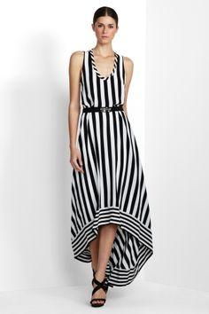 BCBG White & Black Jail Stripe Dress