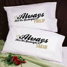 Always Kiss Me Goodnight Pillowcase Set by GiftsForYouNow.com. $19.98. Personalized Couple Pillowcases - Custom Love Pillowcase Set Our Personalized Couple Pillowcases are a beautiful & fun way for a Newlywed couple to display the love they have for each other. This Custom Wedding Pillowcase Set looks fantastic night after night on any loving couples bed. This also makes a wonderful gift for your sweetheart on Valentines Day as well. Our Personalized Couple Pillowcases are ava...