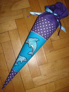 Schultüten - Schultüte mit Delphinen, lila/türkis - ein Designerstück von Zuckerhexe bei DaWanda