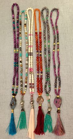 Quartzites, fresh water pearls , druzy, Swarovski crystal tassel necklaces
