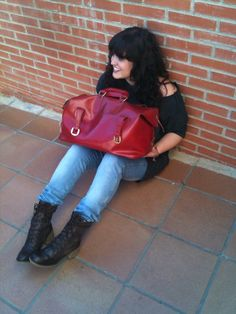 50´s Vintage red leather bag (Modena)