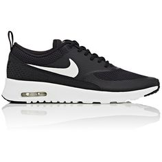 Nike Women's Air Max Thea Sneakers (€83) ❤ liked on Polyvore featuring shoes, sneakers, black, nike, shoes., black trainers, low top, black lace up shoes and crocs sneakers