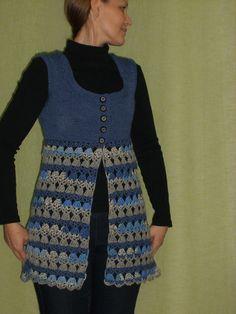 Crochet Yoke, Crochet Jacket, Lace Jacket, Crochet Squares, Crochet Baby, Knit Vest Pattern, Fillet Crochet, Crochet Woman, Crochet Fashion