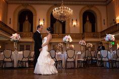 Wedding Omni Ballroom . Centerpieces of white hydrangea, pink peony's and roses  KarrieHlistaDesigns.Com