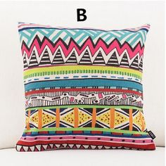 18 inch abstract Geometric throw pillow for sofa linen square cushions