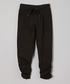 Another great find on #zulily! Black Ruched Sweatpants - Girls #zulilyfinds